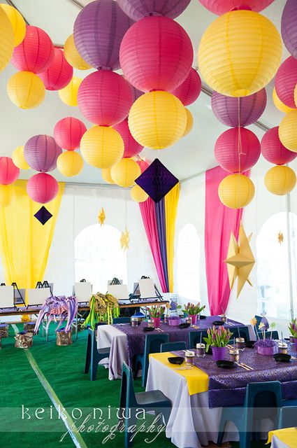 Stunning decor at a Tangled party!  See more ideas at CatchMyParty.com! #partyideas #tangled