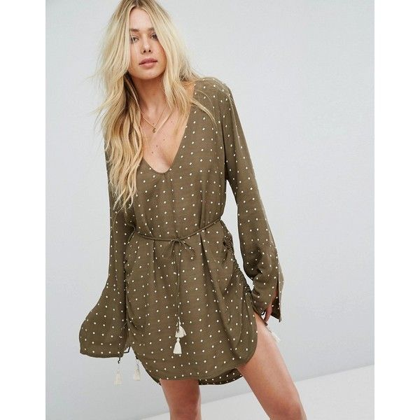 Faithfull Long Sleeve Mini Dress With Tassel Tie (214 CAD) ❤ liked on Polyvore featuring dresses, green, brown maxi dress, long sleeve short dress, long sleeve boho dress, boho maxi dress and bohemian maxi dresses