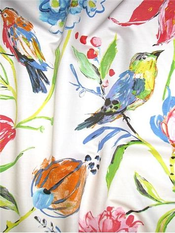 Honolulu Rainbow Luxurious Digital Watercolor Avery Floral Print Perfect For Light Use Upholstery Bird Fabricfabric