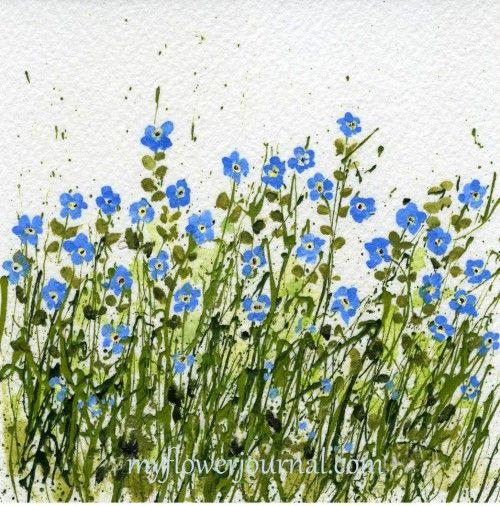 Forget Me Not Splattered Paint Flower Art-myflowerjournal.com
