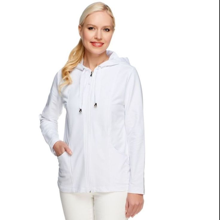 Susan Graver XL WHITE French Terry Knit Long Slv Zip Hooded Jacket  #SusanGraver #BasicJacket #Casual