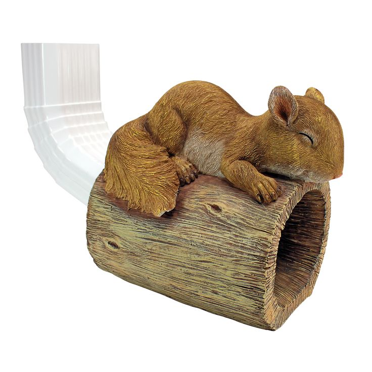 Jolly the Squirrel Gutter Downspout Statue