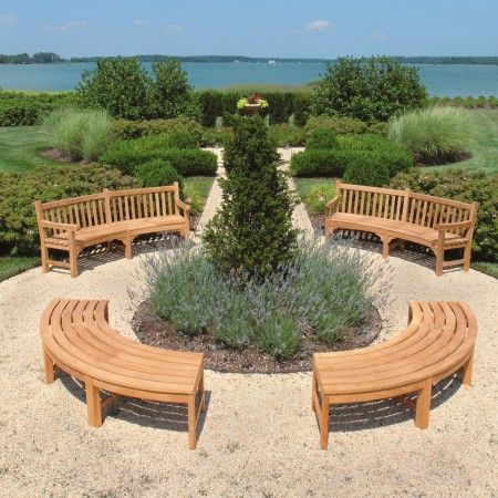 Windermere curved benches and curved backless benches.