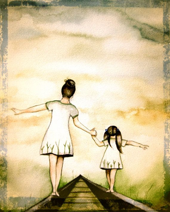 "Mother and daughter ""our path"" art print, vintage version gift idea mother's day"
