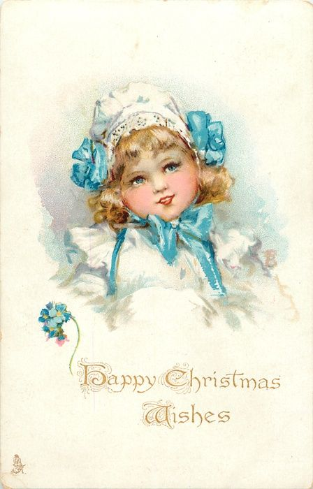 HAPPY CHRISTMAS WISHES  girl, forget-me-nots, F. Brundage
