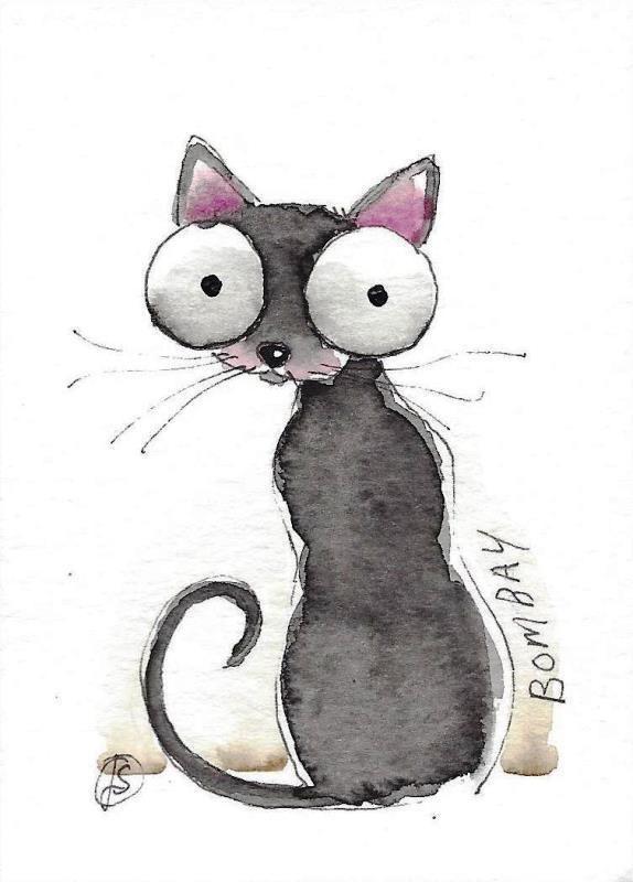 ACEO Original watercolor fine art painting illustration whimsical Bombay Cat #IllustrationArt