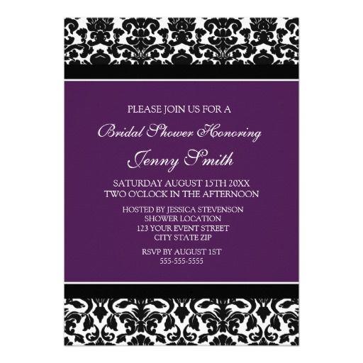 Plum Black Damask Bridal Shower Invitation Cards