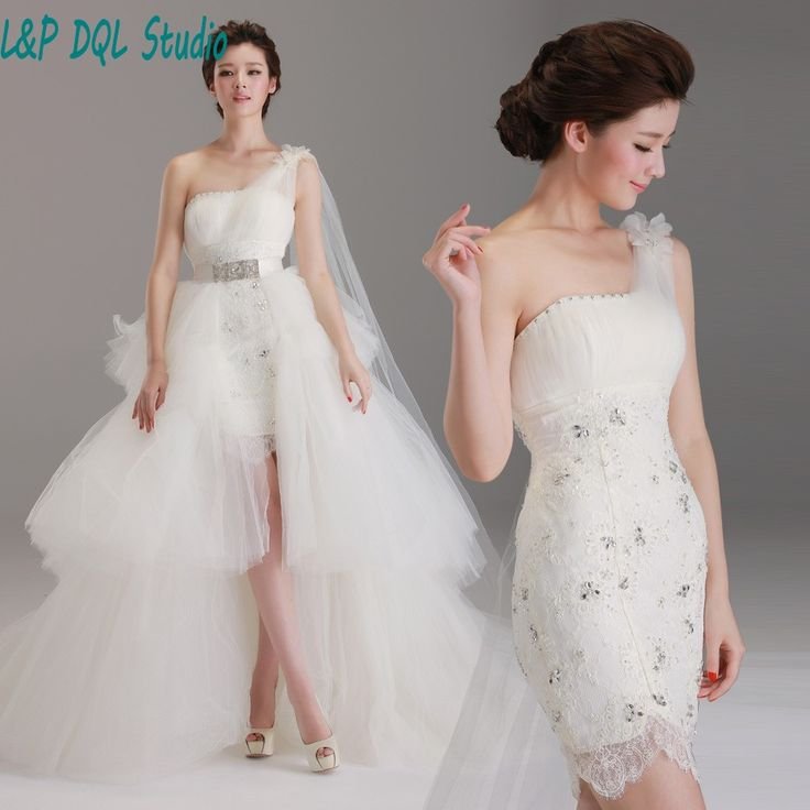 Aliexpress.com : Buy Detachable Train Wedding Dresses One Shoulder Sleeveless Pleats Organza with Applique Shining Beads Sequins vestido de noiva from Reliable organza wedding suppliers on L&P DQL Studio Lpdress Store