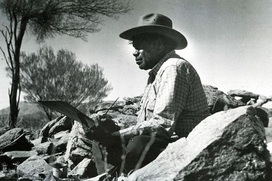 Albert Namatjira (1902-1959), was a Western Arrernte water colour artist.  The Hermannsburg School of Indigenous painting he initiated (after the Lutheran mission where his community grew up) remains a distinctive tradition. Albert Namatjira was granted Australian citizenship as the first aboriginal Australian in 1957, at a time when Indigenous Australians were not considered Australian citizens.