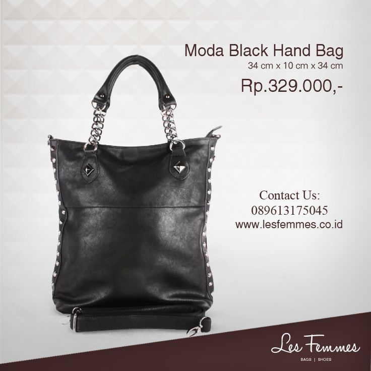 Moda Black Hand Bag 329,000 IDR #Fashion #Woman #bag shop now on http://www.lesfemmes.co.id/hand-bags/moda-black-hand-bag