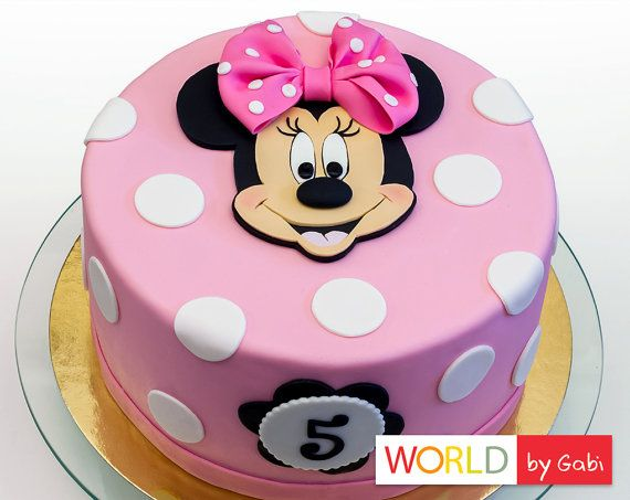 Minnie Mouse Cake Topper  Minnie Mouse Fondant  by WorldByGabi