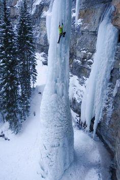 "Climbing frozen waterfall ""The Fang"" in Vail, CO"