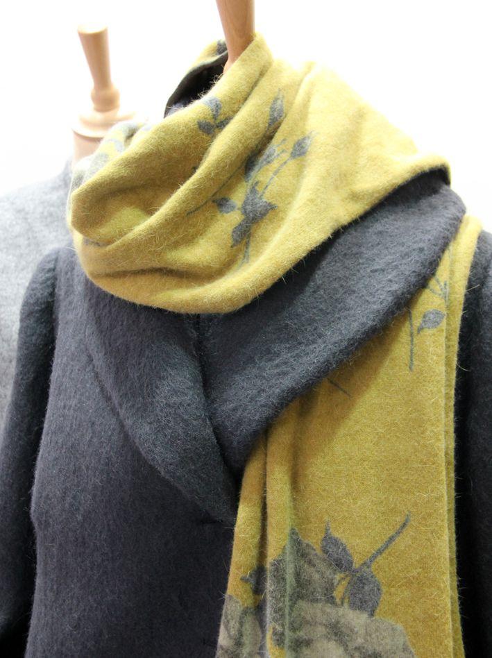 wonderful angora yellow/grey, flower pattern,  jersey scarf!