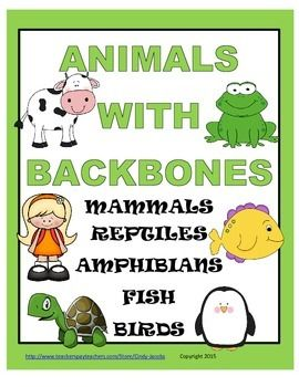 These six 8.5 x 11 Animals with Backbones Posters list the characteristics of mammals, reptiles, amphibians, birds, and fish.You could post these in your classroom as a reference. They could make a nice addition to a science learning station about animals.