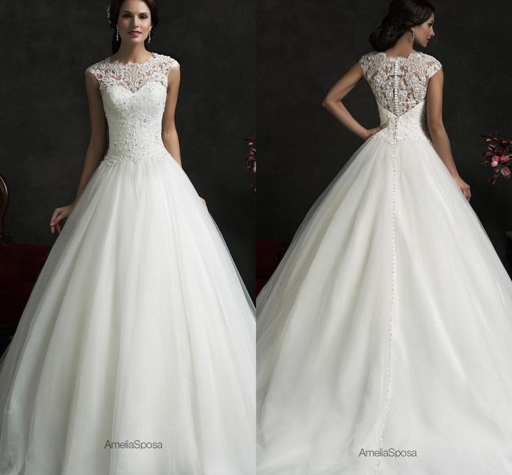 2016 Amelia Sposa Ivory Wedding Dresses 2015 Elegant Sheer Cap Sleeves Zipper With Button Back Lace