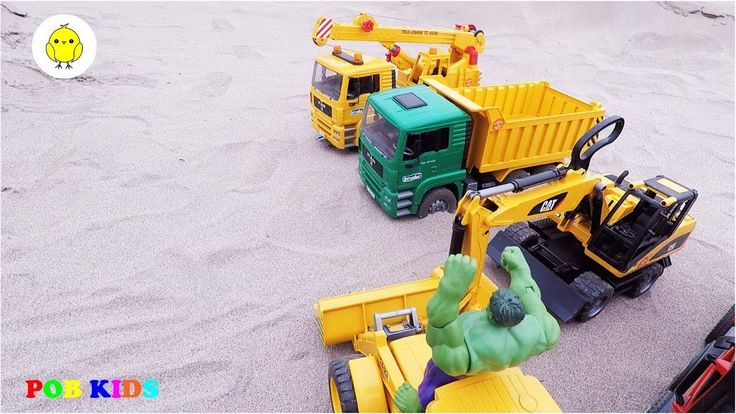 Construction vehicles for kids, Crane truck and excavator video for chil...