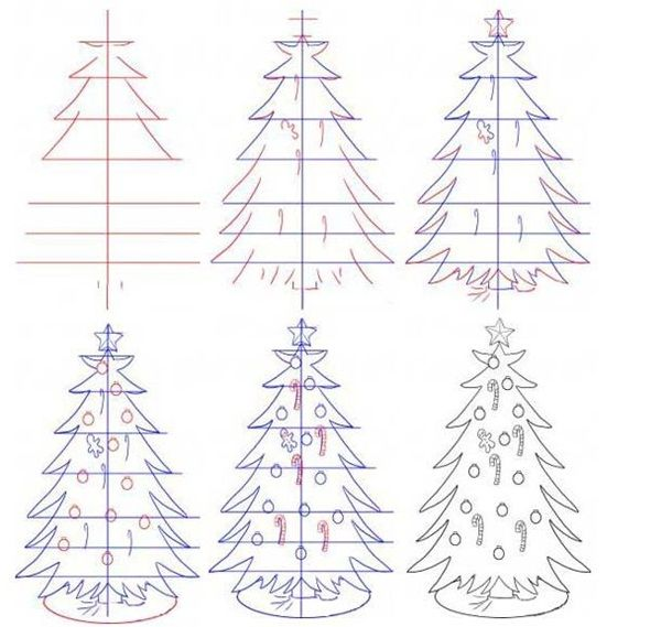 How To Draw A Tree Step By Step Image Guides Tree House Drawing Christmas Tree Drawing Easy Christmas Tree Drawing