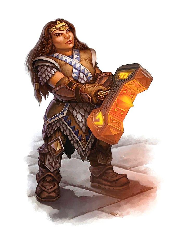 Female Dwarf Warpriest or Paladin of Torag - Pathfinder PFRPG DND D&D 3.5 5th ed d20 fantasy