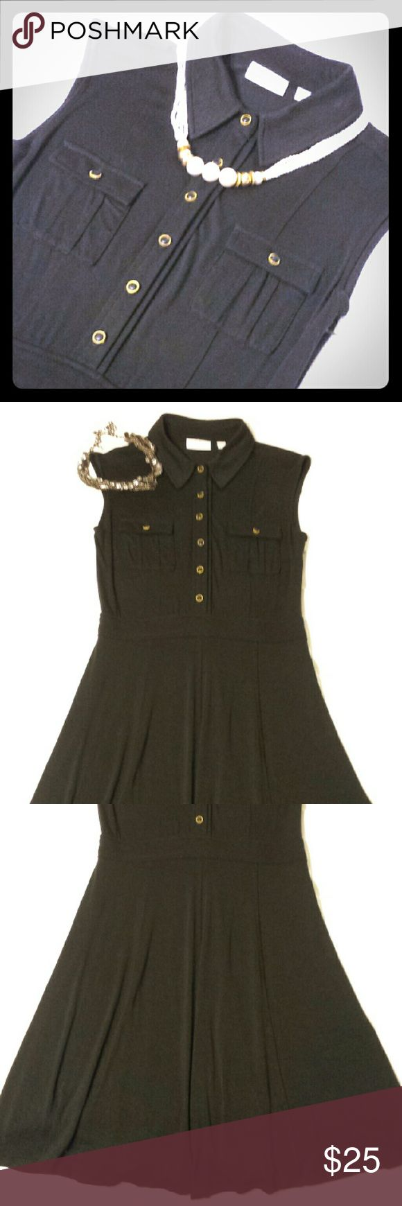 New York &Company ..🌷Can be Bundled 🌷 Cute GUC black dress with Gold button details. New York & Company Dresses