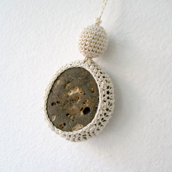 Crochet Stone Necklace - Crochet Jewelry - Lace Stone Necklace - Beach Stone Pendant - Beach Wedding Necklace - Moon Stone Necklace via Etsy