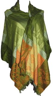 Green and Orange multi print pashmina.  Materials: - 70% Pashmina - 30% Silk  Size: One Size 