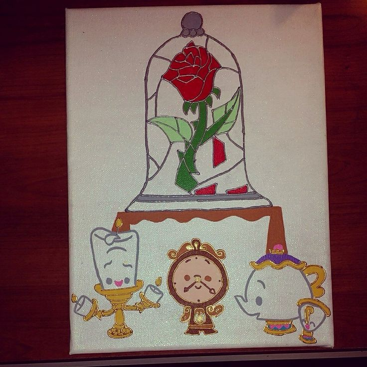 Stained Glass Rose & Castle Friends Beauty and the Beast