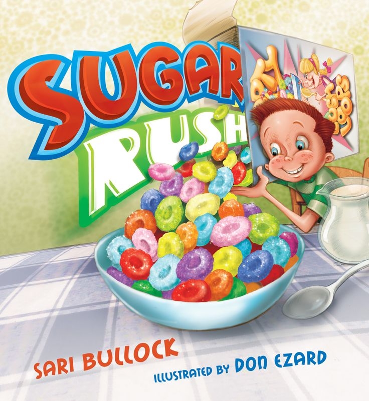 A huge lolly snake, a raspberry pie, a chocolate cup cake, multi-coloured cereal, toffee candy, choc brittle crunch, chocolate cream bun, sixty-jellies, a sherbet FIZZ dreams, marshmallows, liquorice, chocolate eclairs, lollipops, Turkish delight and an energy drink. This is what the little boy in Sugar Rush eats. The more sugar he eats, the bigger his cravings for sugar get, and the more lollies he eats!  He just can't stop. But eventually it catches up with him...