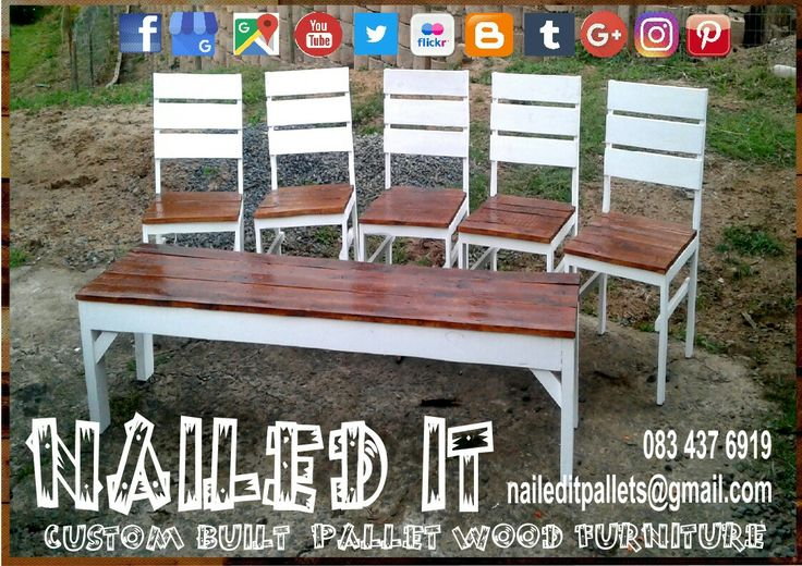 Custom built Pallet wood Bench & Chair set. #naileditcustombuiltpalletfurniture #palletwoodfurnituredurban #palletfurnituredurban #palletfurniture #palletchair #palletbench #custompalletfurnituredurban #custompalletfurniture
