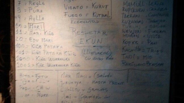 Algunas palabras del diccionario Mapuche