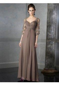 Linia A Na ramiączkach Do podłogi Szyfon Sukienki Dla Mam Pary Młodej#WX495