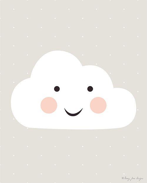 Happy Cloud Printable Digital Art Printable door PennyJaneDesign
