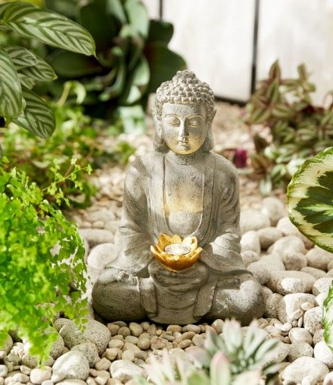 buddha deko buddha garten gartenleuchte buddha figur. Black Bedroom Furniture Sets. Home Design Ideas