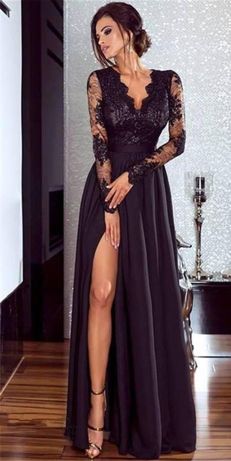 290e4e2681 Women Lace Evening Party Prom Gown Ladies Formal Empire Waist Long Dress  Solid V-Neck Long Sleeve Floor-Length Maxi Dresses