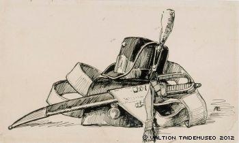Edelfelt: Numero viisitoista Stolt-runon loppuvinjetti, originaalipiirustus Vänrikki Stoolin tarinain kuvitukseen, 1897 - 1900