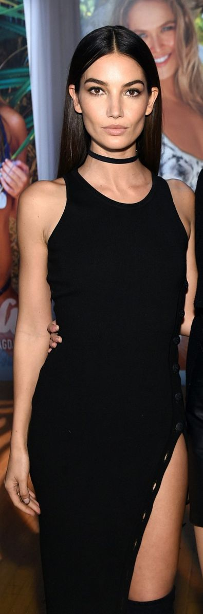 Who made Lily Aldridge's black dress?