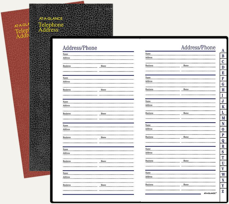 Fine Diary TelephoneAddress Book 8202 ATAGLANCE