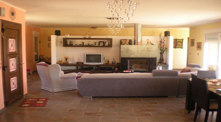 Wohnzimmer mit Kamin Bungalow