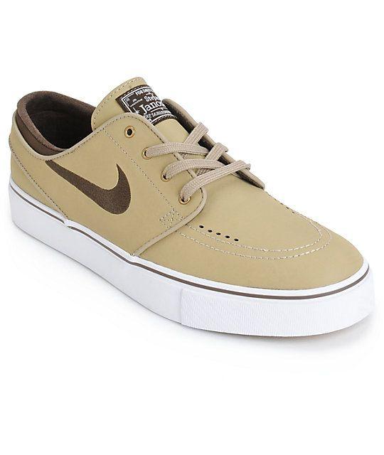 new product b185f 67067 ... wholesale nike sb zoom stefan janoski khaki brown leather skate shoes  991ea 15206