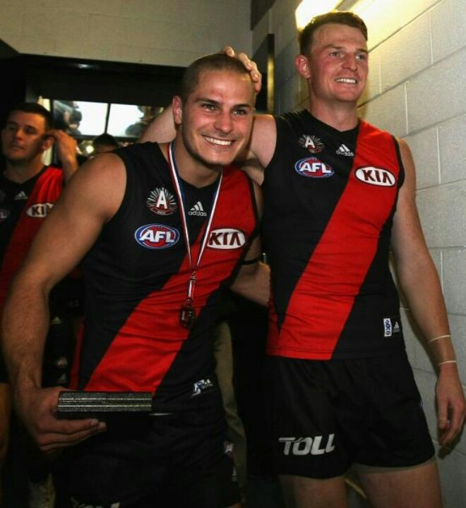 Zaharakis and Goddard. Great win Bombers. ANZAC Day 2013