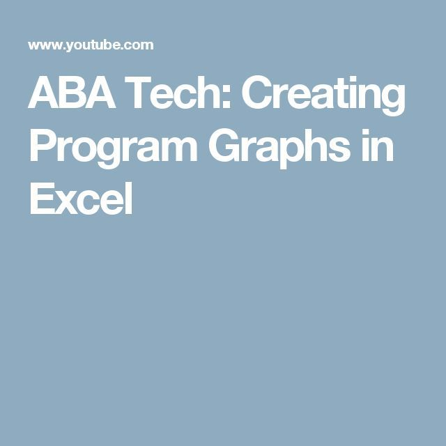 ABA Tech: Creating Program Graphs in Excel