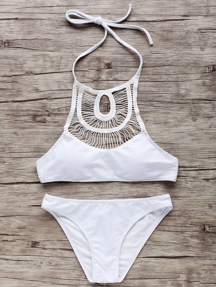 High-Neck Hollow Out Bikini Set WHITE: Bikinis | ZAFUL