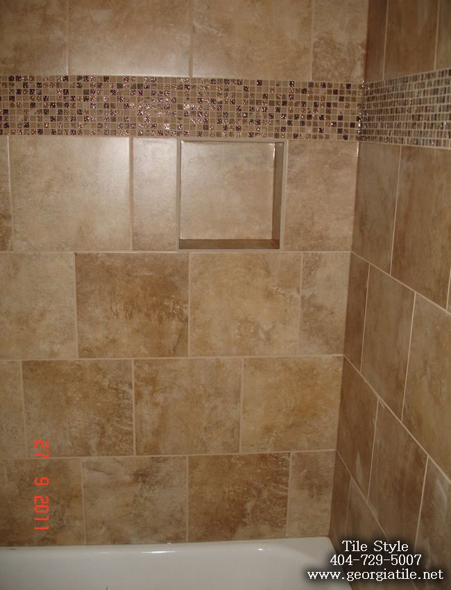 Tiled shower designs shower niche corner shelf glass for Old tile bathroom ideas