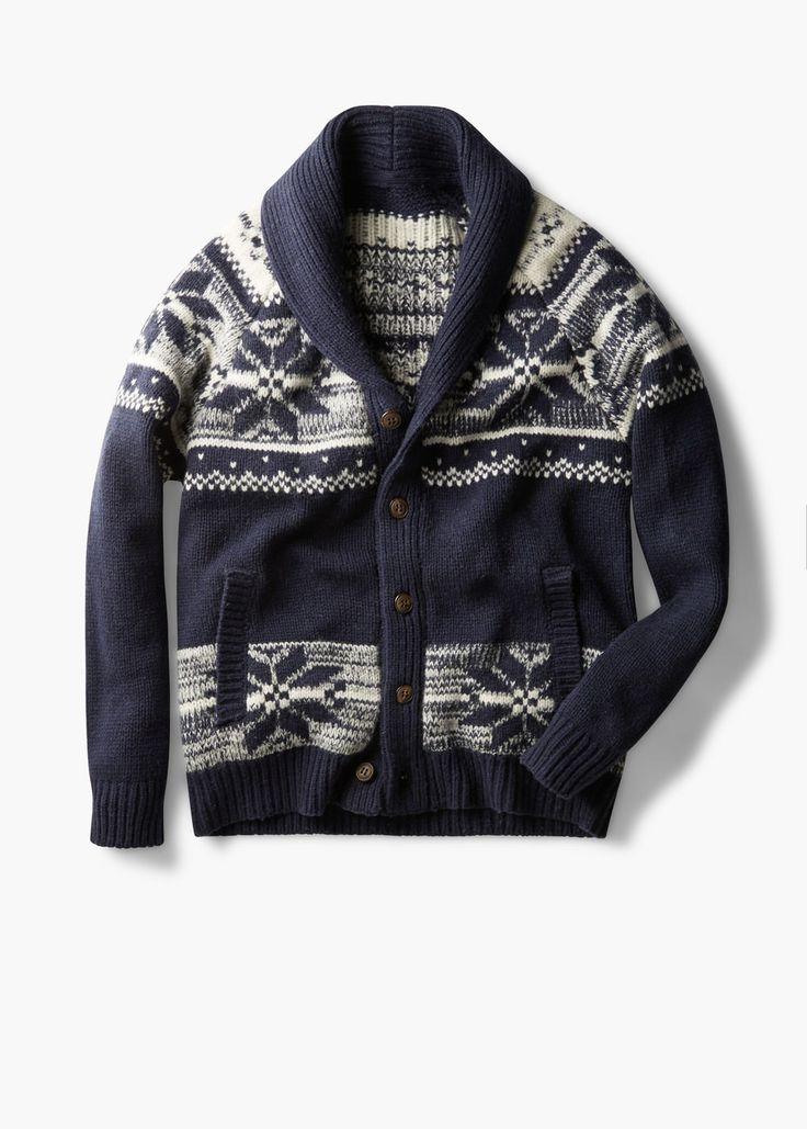 Fair isle wool cardigan | MANGO MAN