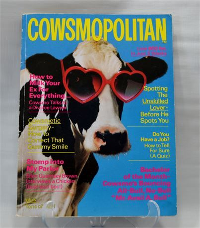 -Vintage Cowsmopolitan Dairy Magazine, 1987 Cows Bull Farming Agriculture FFA Farm Animals Gag Gift Collectible Paper Ephemera Advertising   - excellent vintage condition - minor wear on corners - see photos   - published by Thomas Hagey   This is a used item. There is/could be normal wear on the item so check photos carefully. All items are sold as is. Items are packed carefully. Insurance is included on all purchases over $15.00. I will be happy to combine shipping just contact me bef...