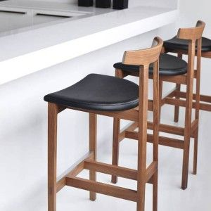 Contemporary Wood Bar Stools With Black Leather Seats , Wood Bar Stools In Furniture Category