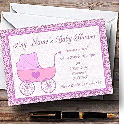 Girl Pink Pram Personalized Baby Shower Invitations
