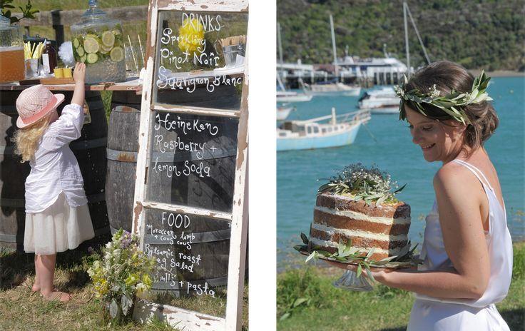 Beautiful DIY vintage themed wedding at Matiatia Bay Waiheke Island. Natural relaxed photography by Phillipa Karn Photography