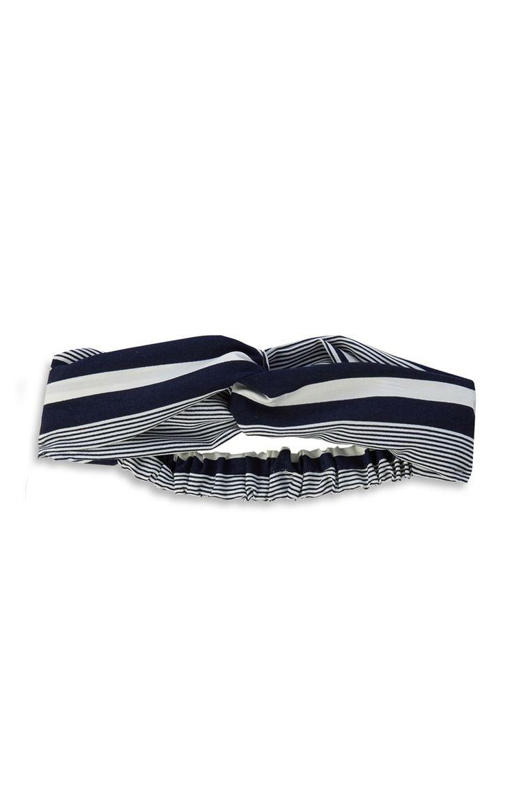 Navy Stripe Knot Hair Band
