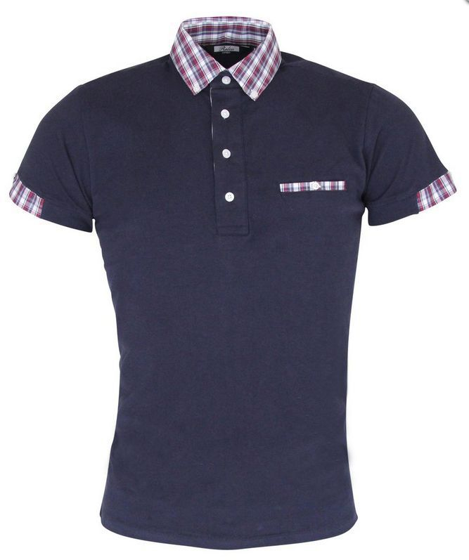 Polo Shirt Short Sleeve Navy and Tartan