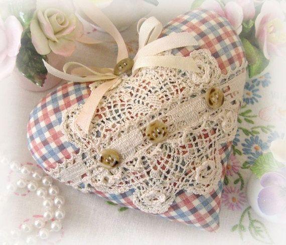 Sachet Heart, Heart Sachet, Light Red and Blue Check, Lavender Buds, Prim Primitive Cloth Handmade CharlotteStyle Decorative Folk Art